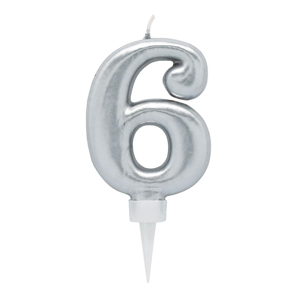 Tårtljus Siffra Silver - Siffra 6