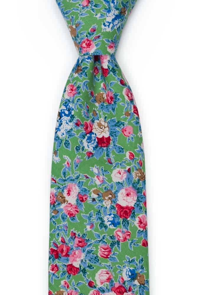 Bomull Slips, Rosa, blå og hvite blomster på eplegrønt, Grønn, Blomster