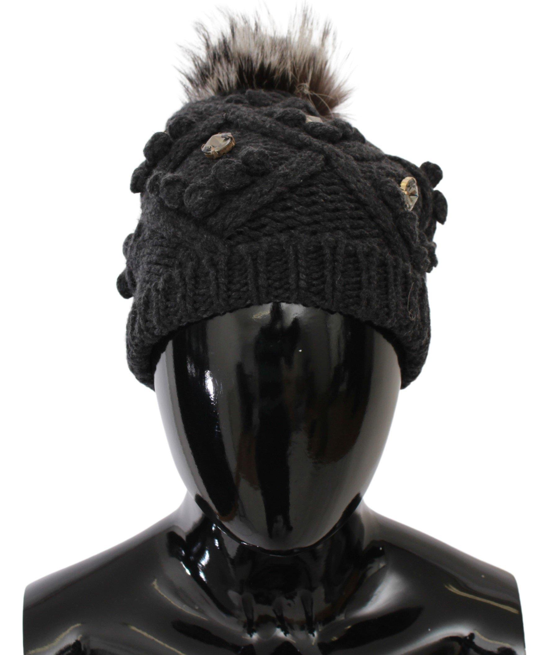Dolce & Gabbana Women's Cashmere Fur Crystal Winter Beanie Hat Gray HAT20033