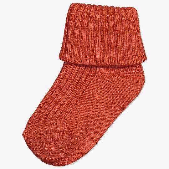 Ensfargede sokker baby terrakotta