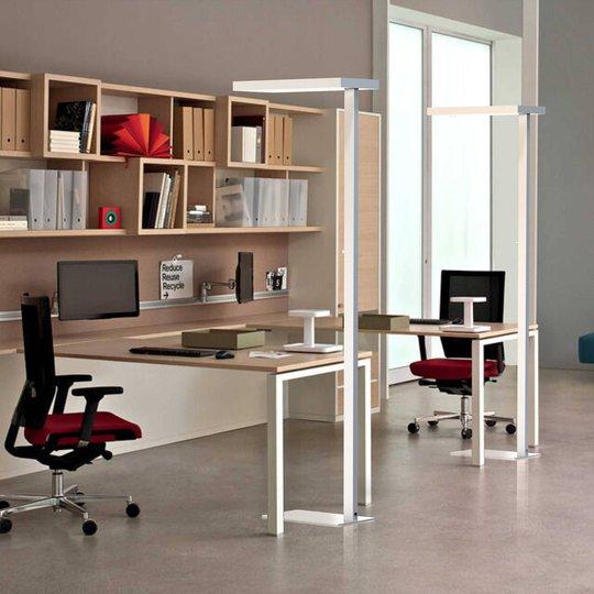 LED-gulvlampe Office up/down 4 000 K dimbar sølv