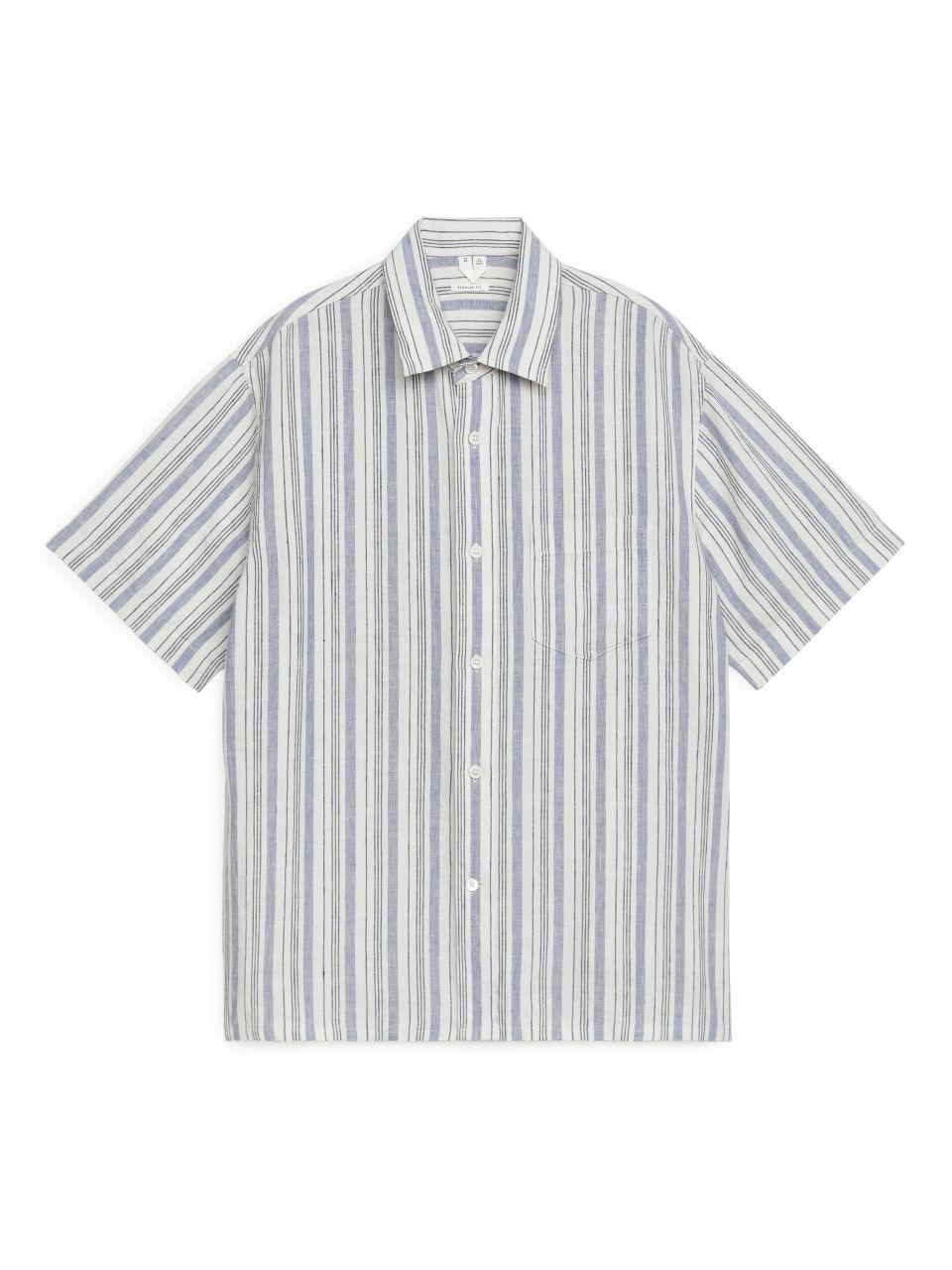 Short-Sleeved Linen Shirt - Blue