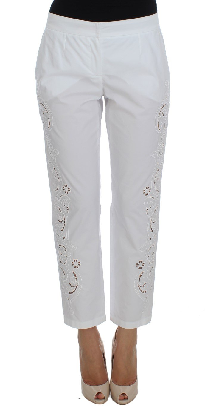 Dolce & Gabbana Women's Floral Cutout Dress Sicily Trouser White SIG20046 - IT40|S