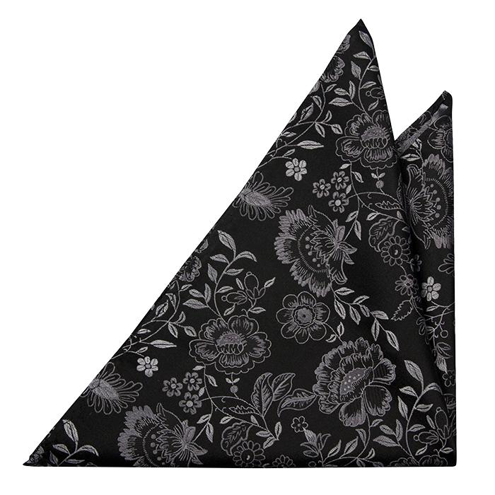 Silke Lommetørkler, Sølvfargede blomster på en svart base, Notch MAYAR