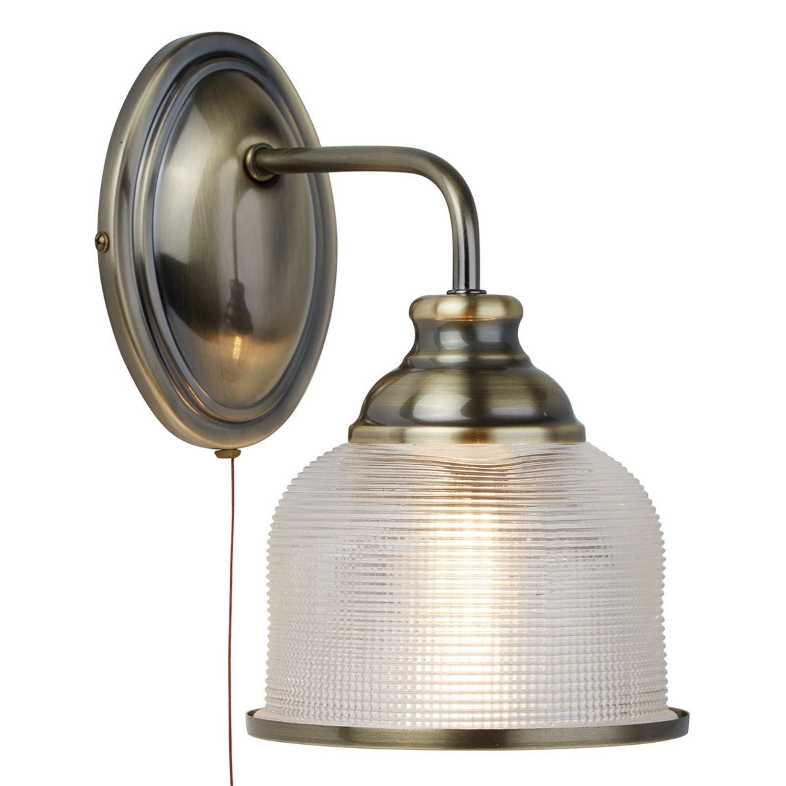 Holofanglass-vegglampe Bistro II, antikkmessing