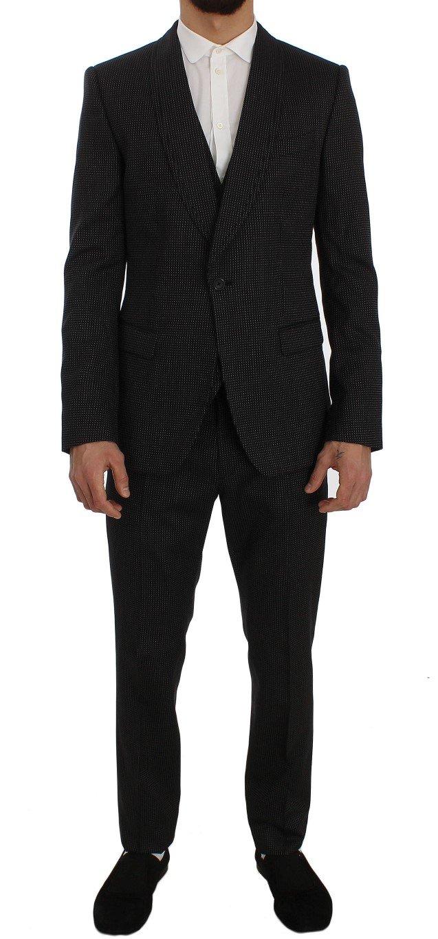 Dolce & Gabbana Men's Wool Silk Stretch Slim Fit 3 Piece Suit Gray SIG50088 - IT46   S