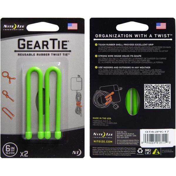 Nite Ize Gear Tie 6 Vaier 2-pakning grønn