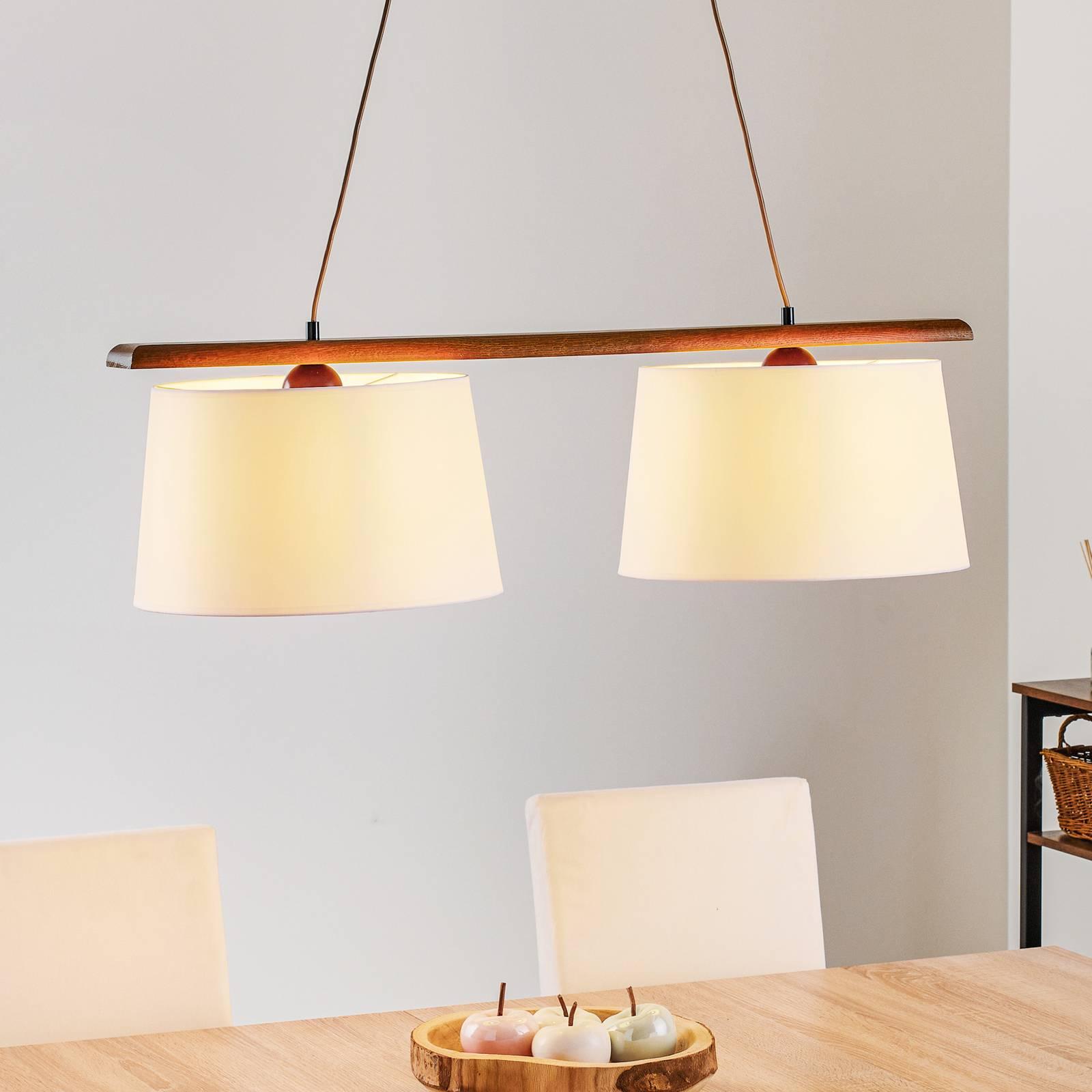 Riippuvalo Sweden 2-lamppuinen, rustiikkinen tammi