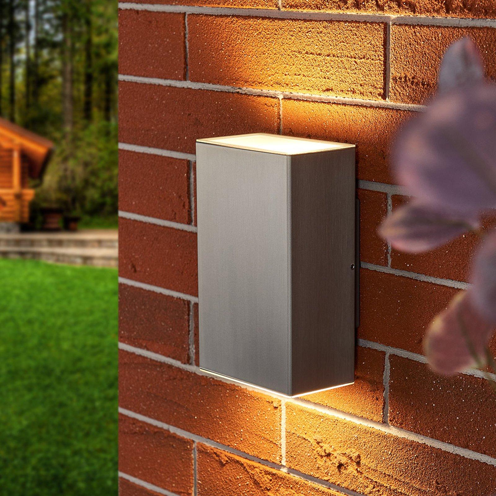 Utendørs LED-vegglampe i stål Jana 16 x 10 cm