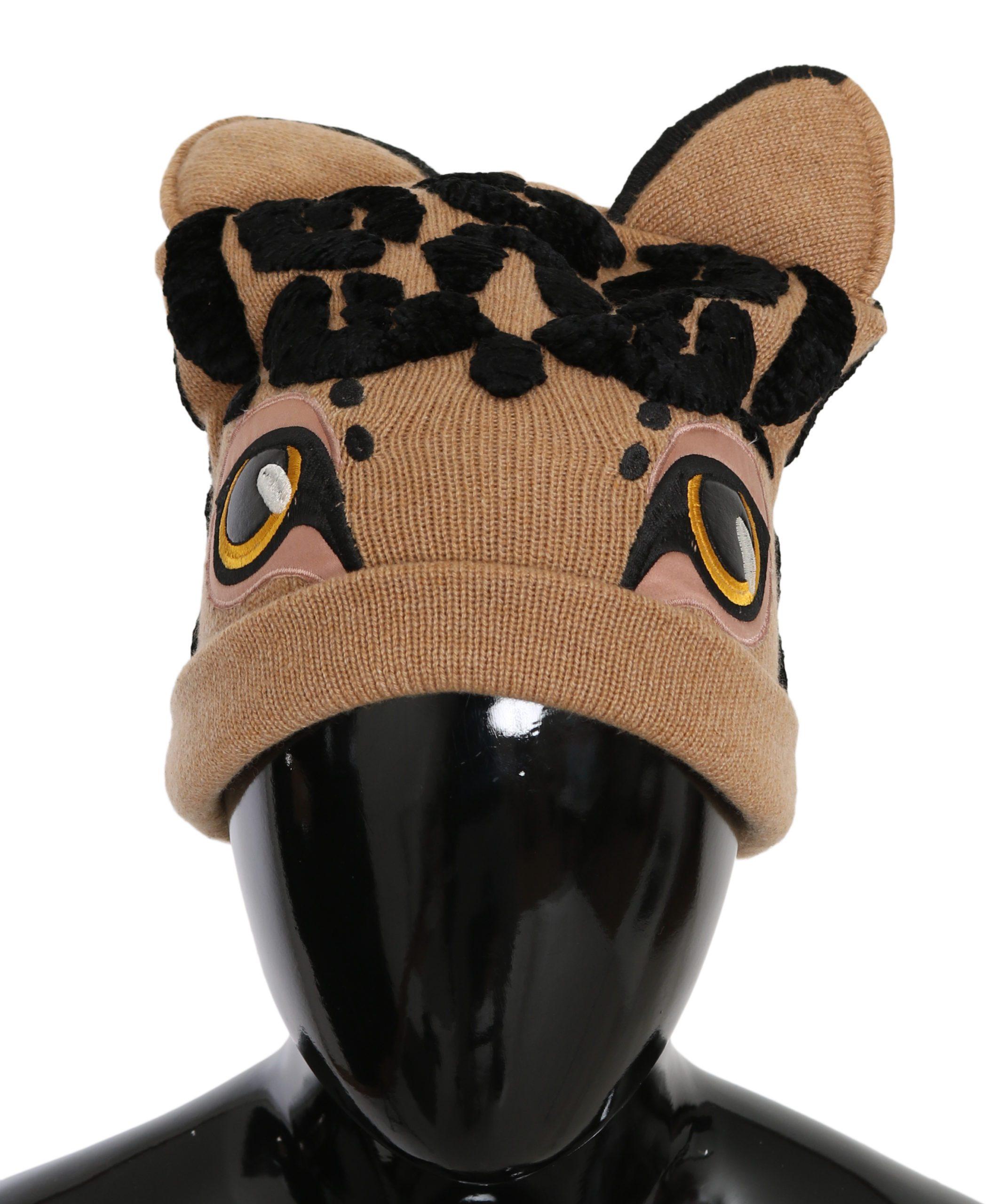 Dolce & Gabbana Women's Cashmere Knitted Hat Brown HAT9052