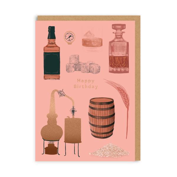 Happy Birthday Whiskey Greeting Card