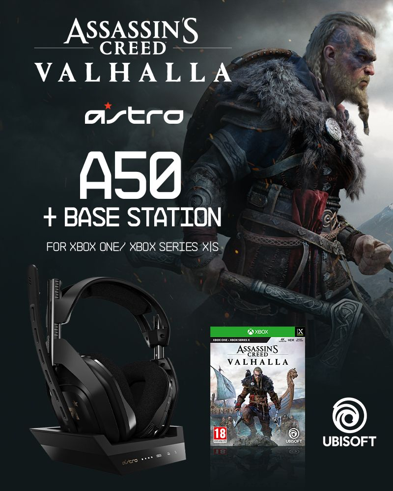 ASTRO - A50 Wireless + Base Station for Xbox S,X/PC - GEN4 & Assassin's Creed: Valhalla XB1 - Bundle