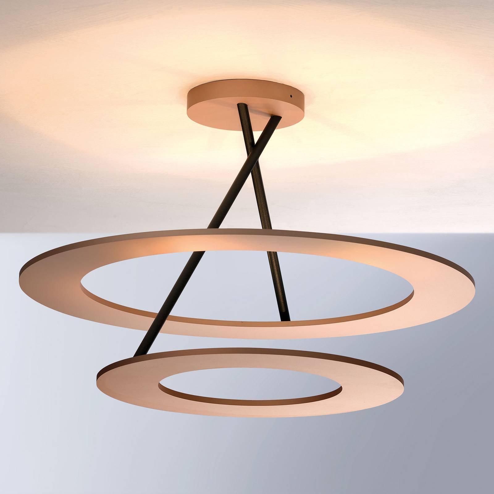 Bopp Stella LED-taklampe 2 ringer, rosa/svart