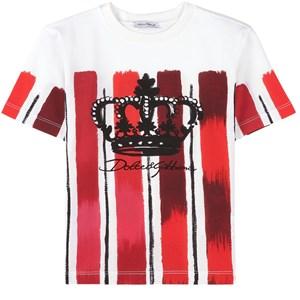 Dolce & Gabbana Multi Brush Stroke Branded T-shirt Vit 2 år