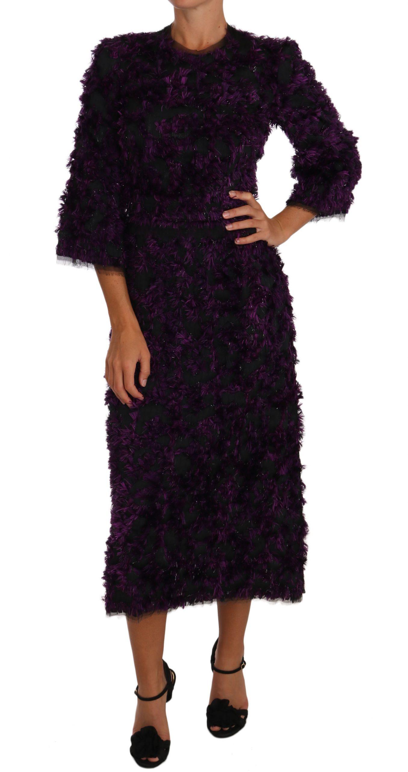 Dolce & Gabbana Women's Fringe Midi Sheath Dress Purple DR1441 - IT40|S