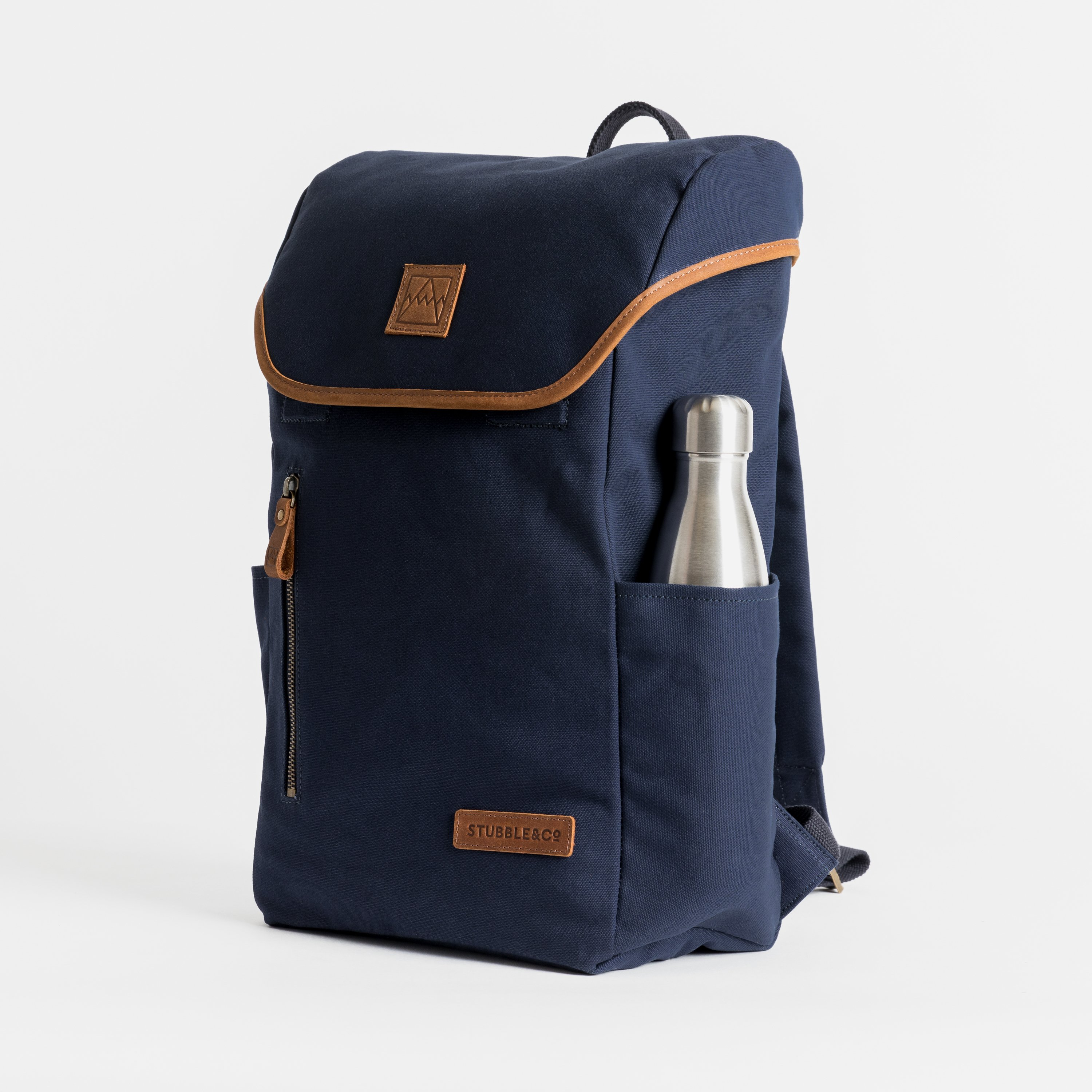 """The Backpack. Premium Waterproofed Canvas and Leather. 15"""" Laptop Pocket., Navy"""