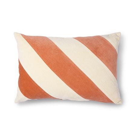 Striped Cushion Velvet peach/Cream 40x60 cm