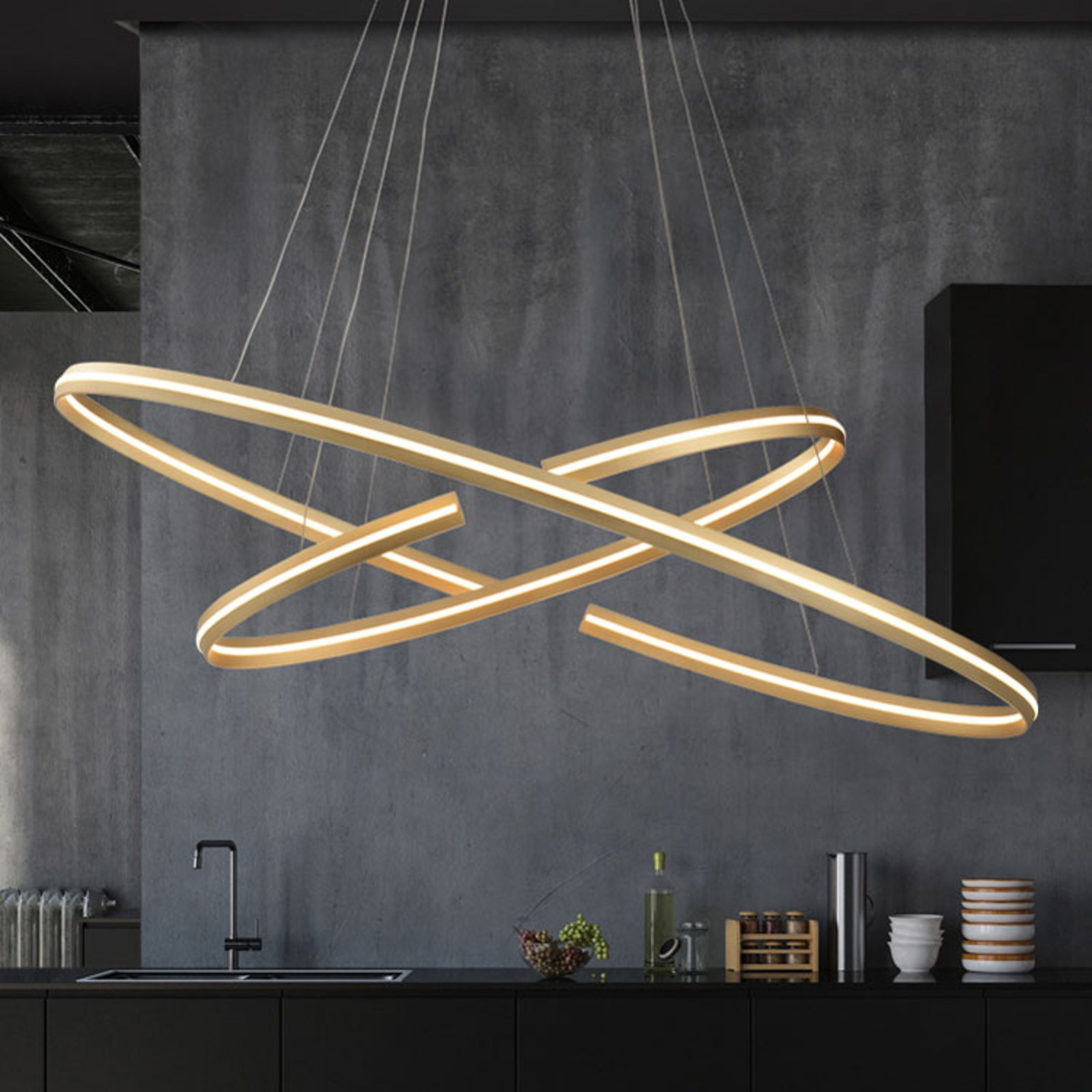 LED-hengelampe Elipse i oval form, 120x60 cm
