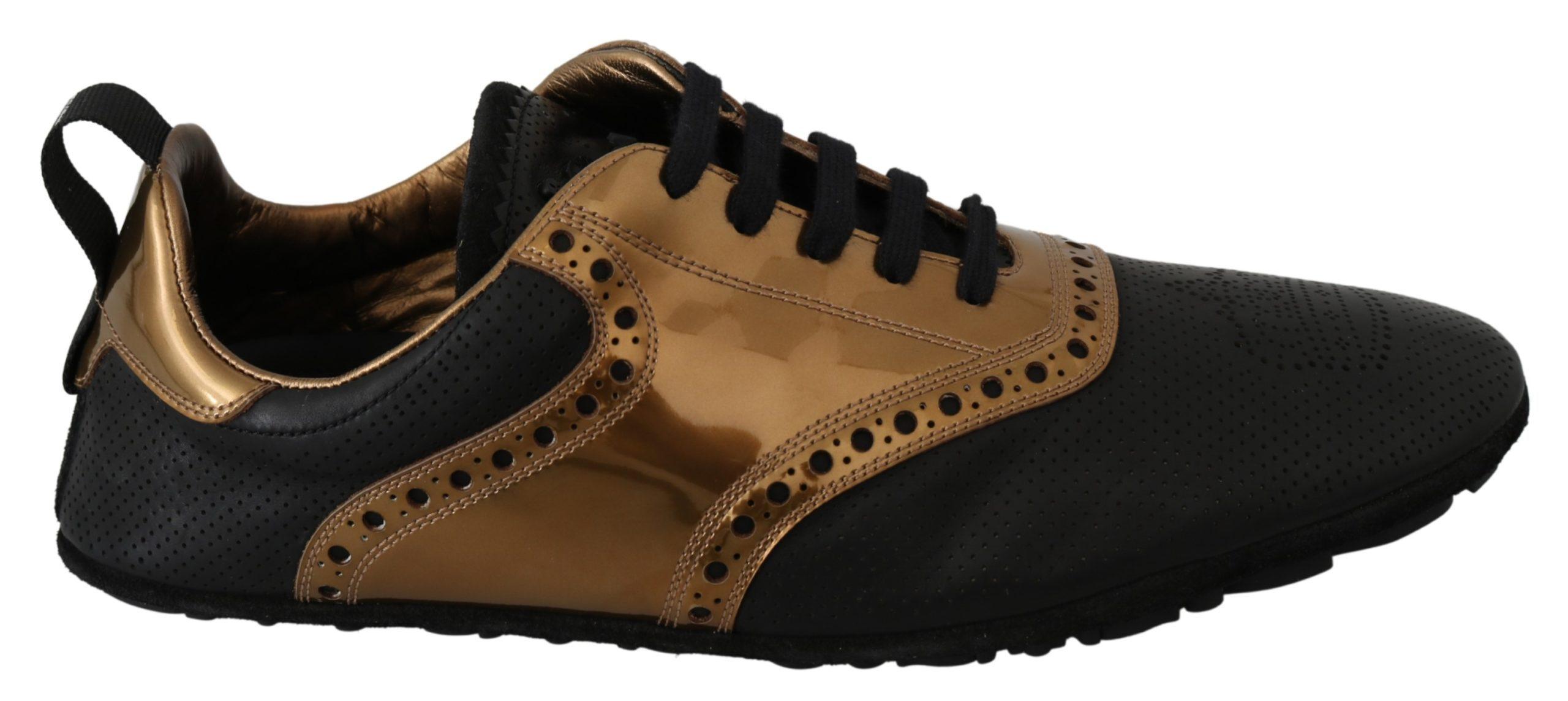 Dolce & Gabbana Men's Shiny Leather Crown Trainer Gold MV3039 - EU44/US11