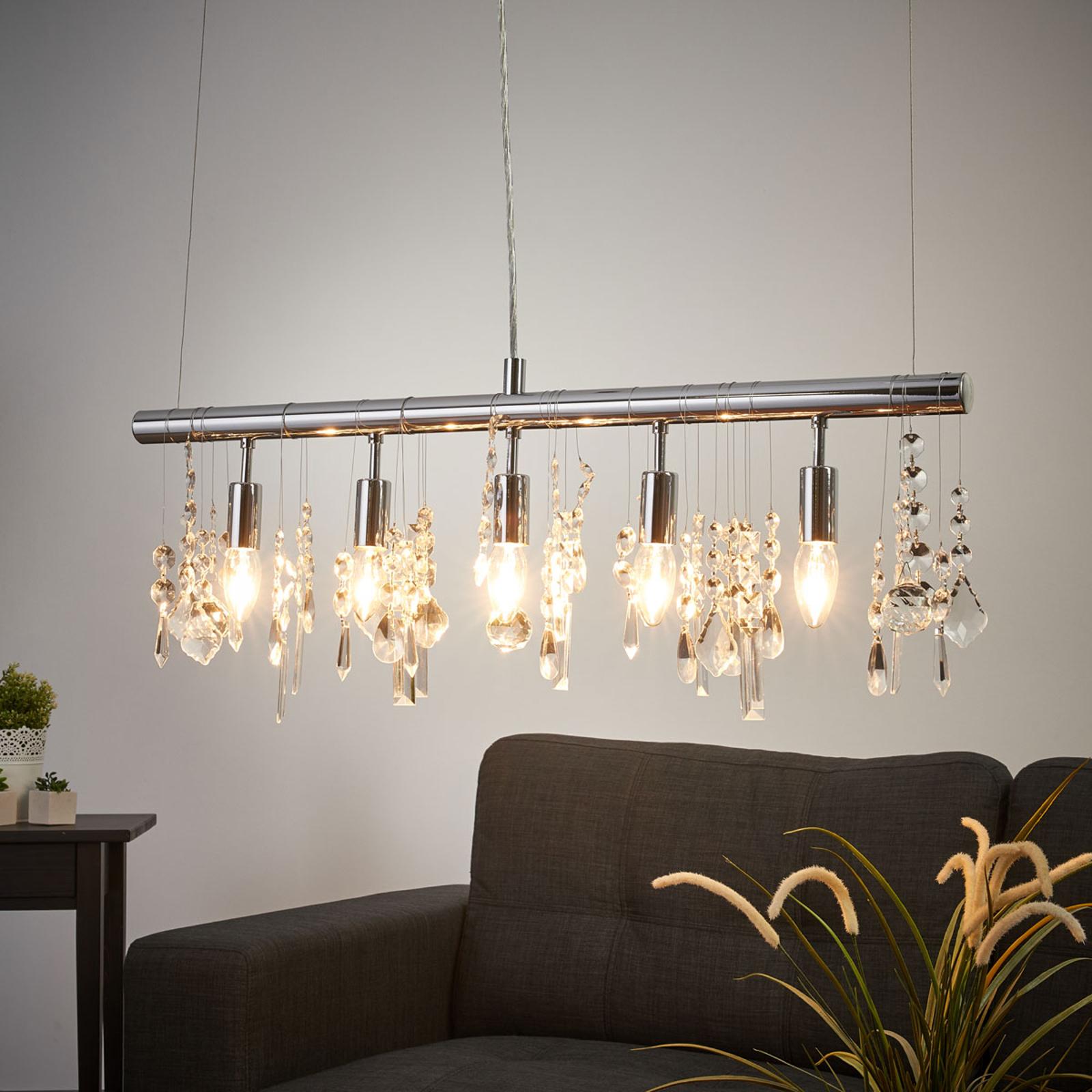 Kimalteleva riippuvalaisin CRYSTAL 5-lamppuinen