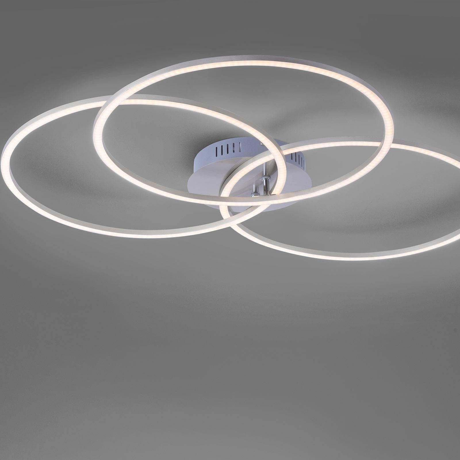 Ivanka LED-taklampe, tre ringer, stål