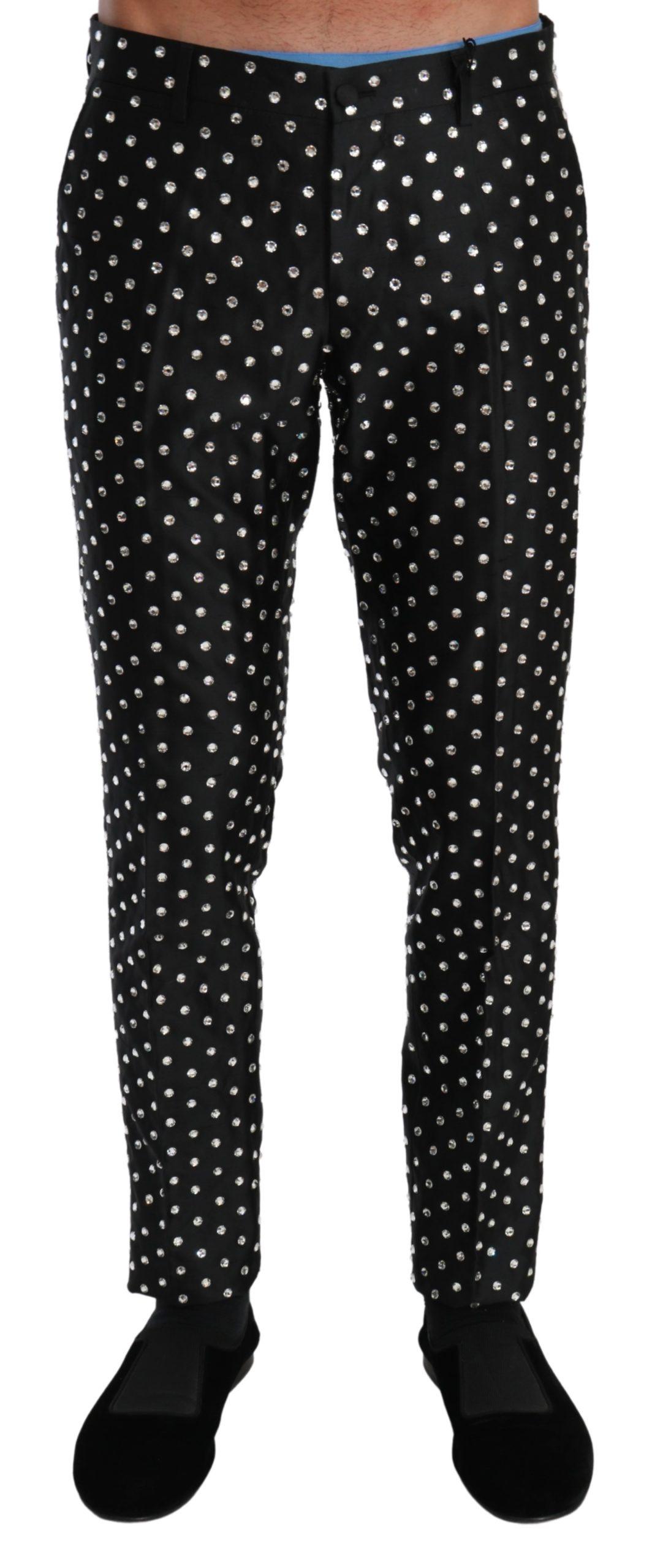 Dolce & Gabbana Men's Crystal Dress Silk Trouser Black PAN70971 - IT52 | XL