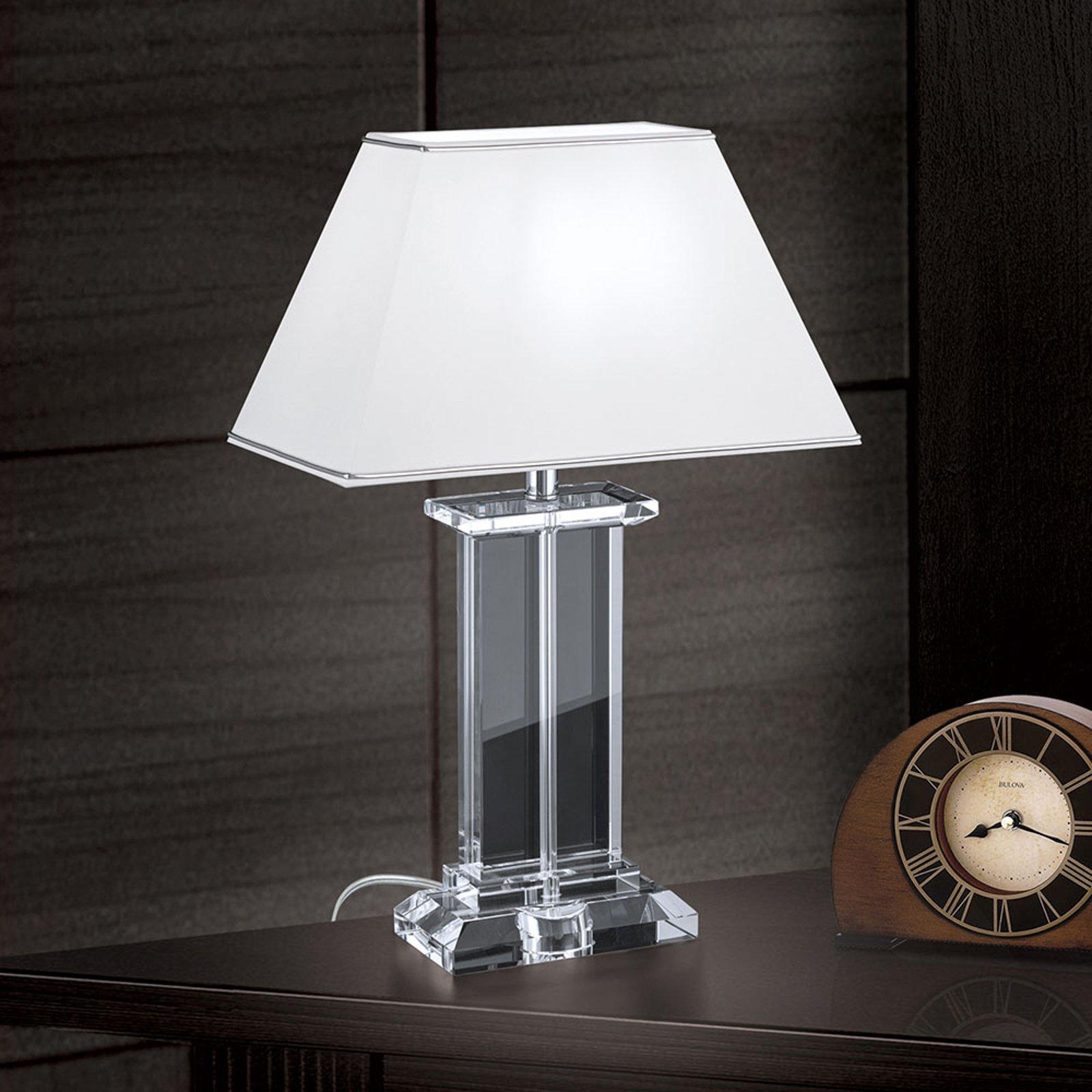 Bordlampe Veronique, fot bred, hvit/krom