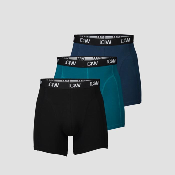 Boxer 3-Pack, Black/Teal