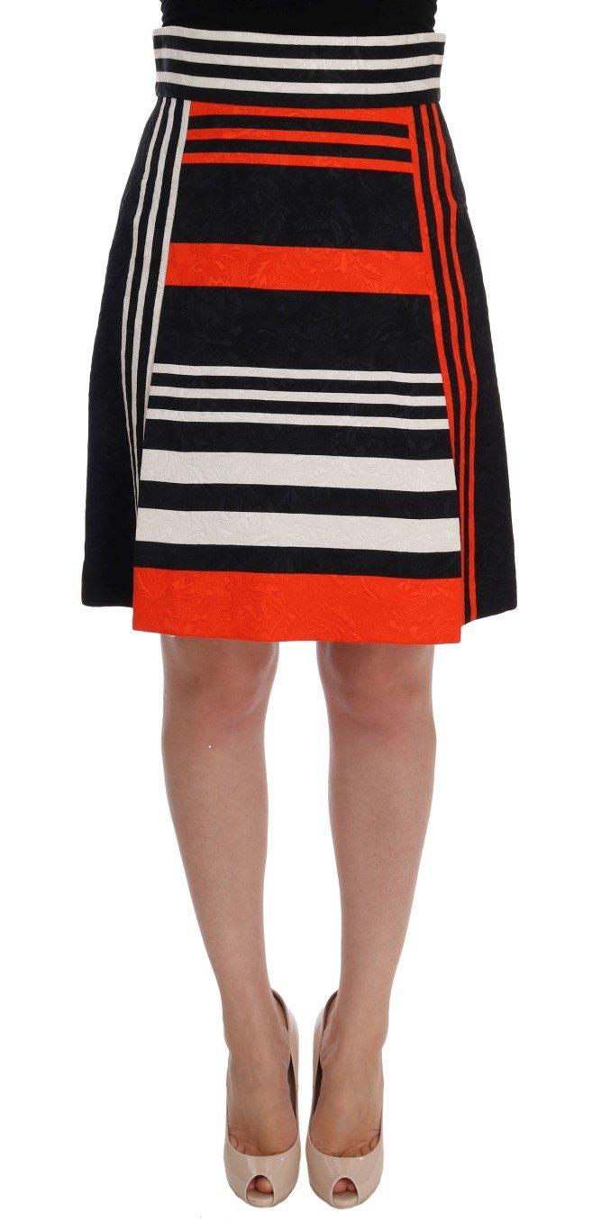 Dolce & Gabbana Women'sStriped Brocade Skirt Multicolor SKI1002 - IT38 XS