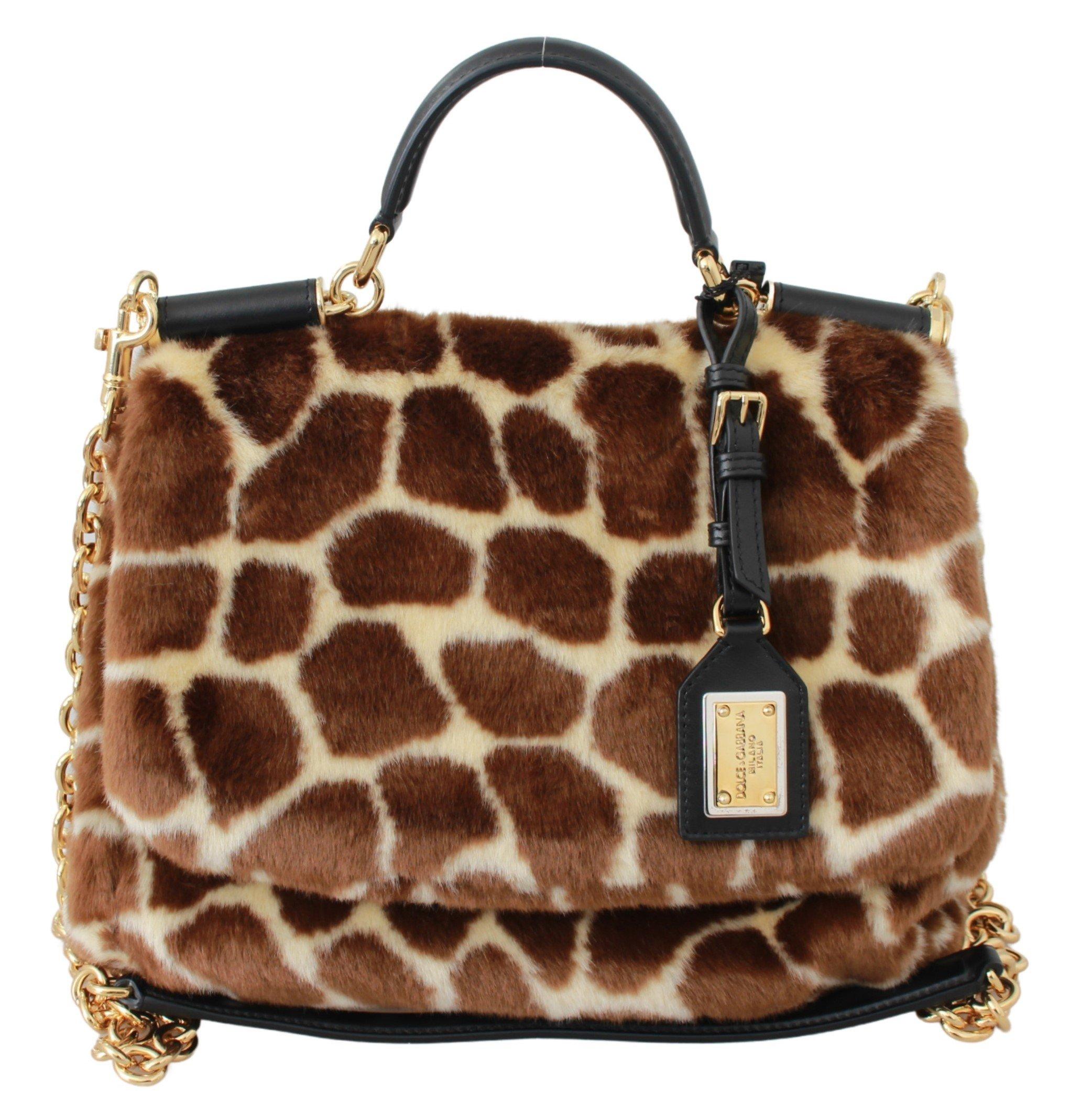 Dolce & Gabbana Women's MISS SICILY Giraffe Shoulder Bag Brown VAS9415