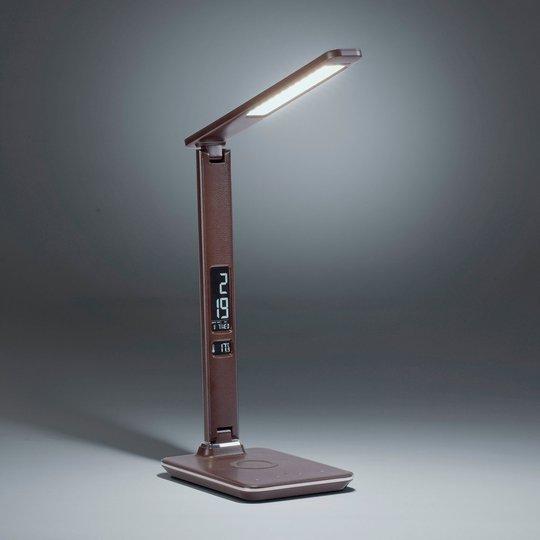 LED-bordlampe Adriano, CCT, dimbar, brun