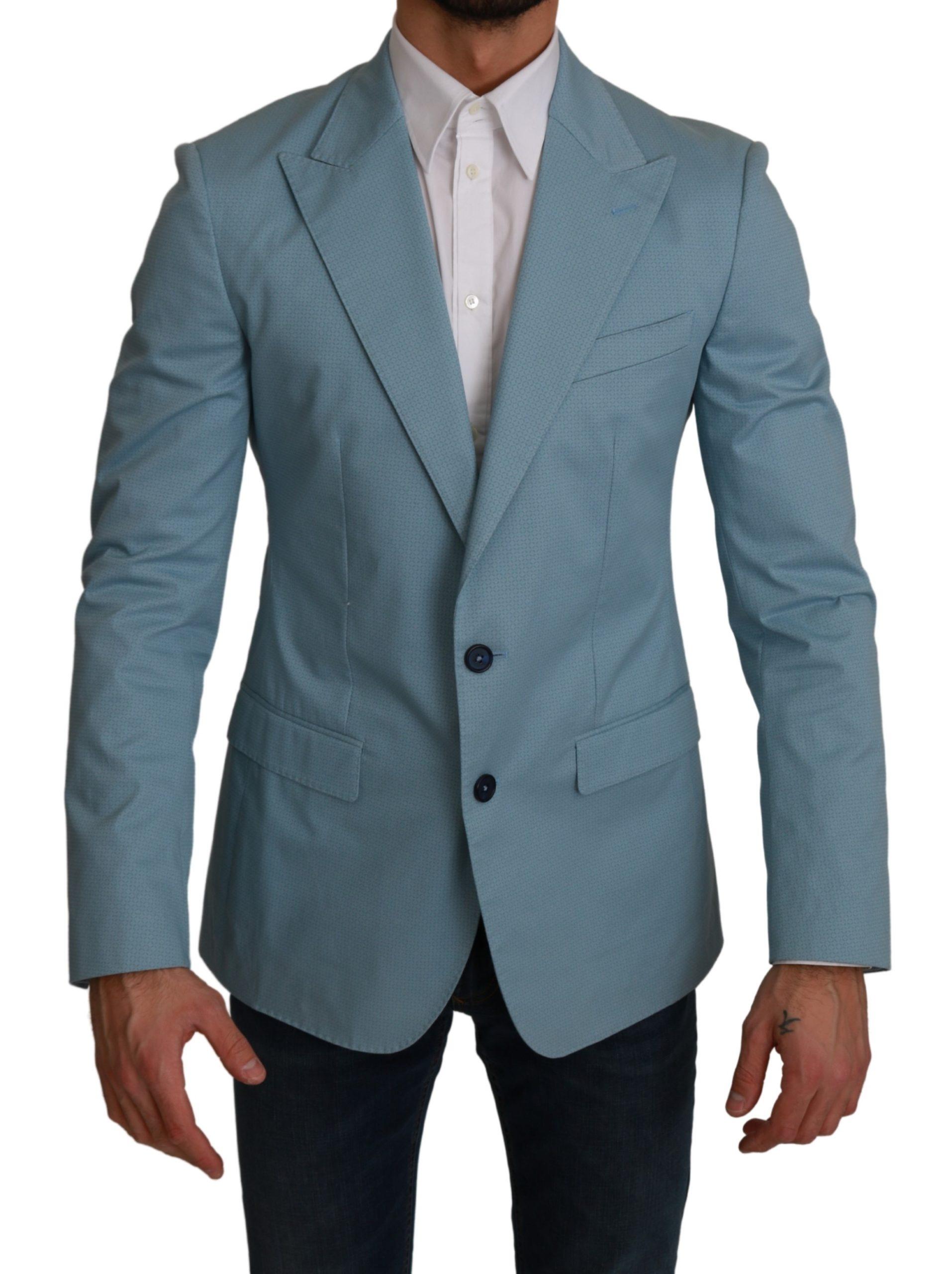 Dolce & Gabbana Men's Slim Fit Coat Jacket MARTINI Blazer Blue KOS1736 - IT48 | M