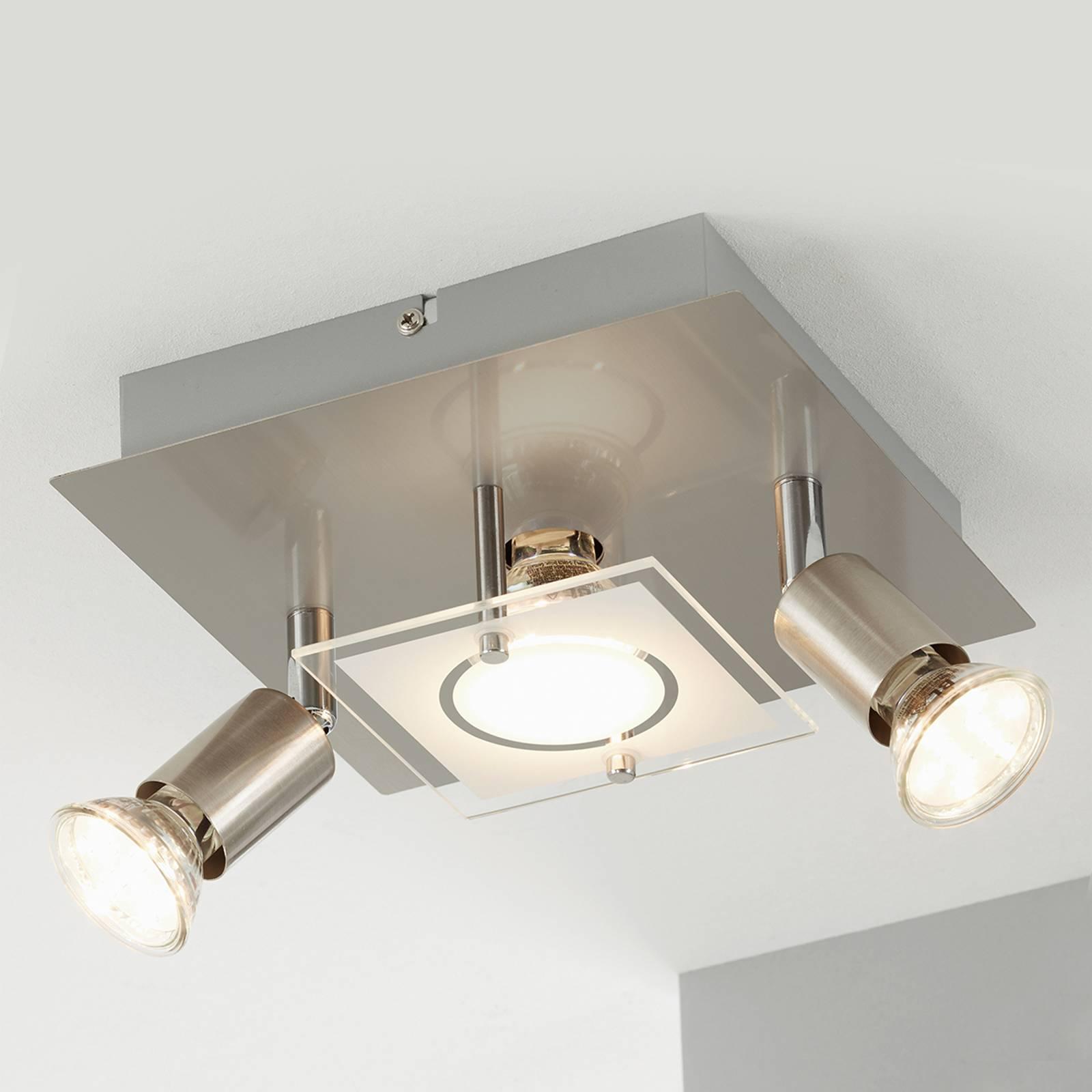 Matta nikkelöity LED-kattovalaisin Start - 3-lamp.