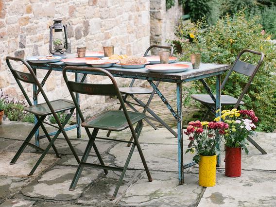 Vintage Folding Table - Blue Medium