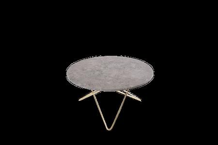O Table Grå Marmor med Messingramme Ø80