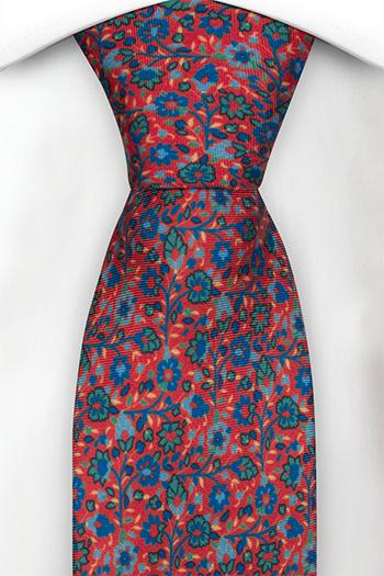 Silke Slips, Små blå & grønne blomster på lys rød base, Rød, Blomster