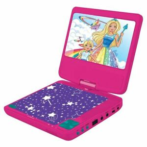 """Lexibook - Barbie Portable DVD Player 7"""" rotative screen with USB port and earphones (DVDP6BB)"""