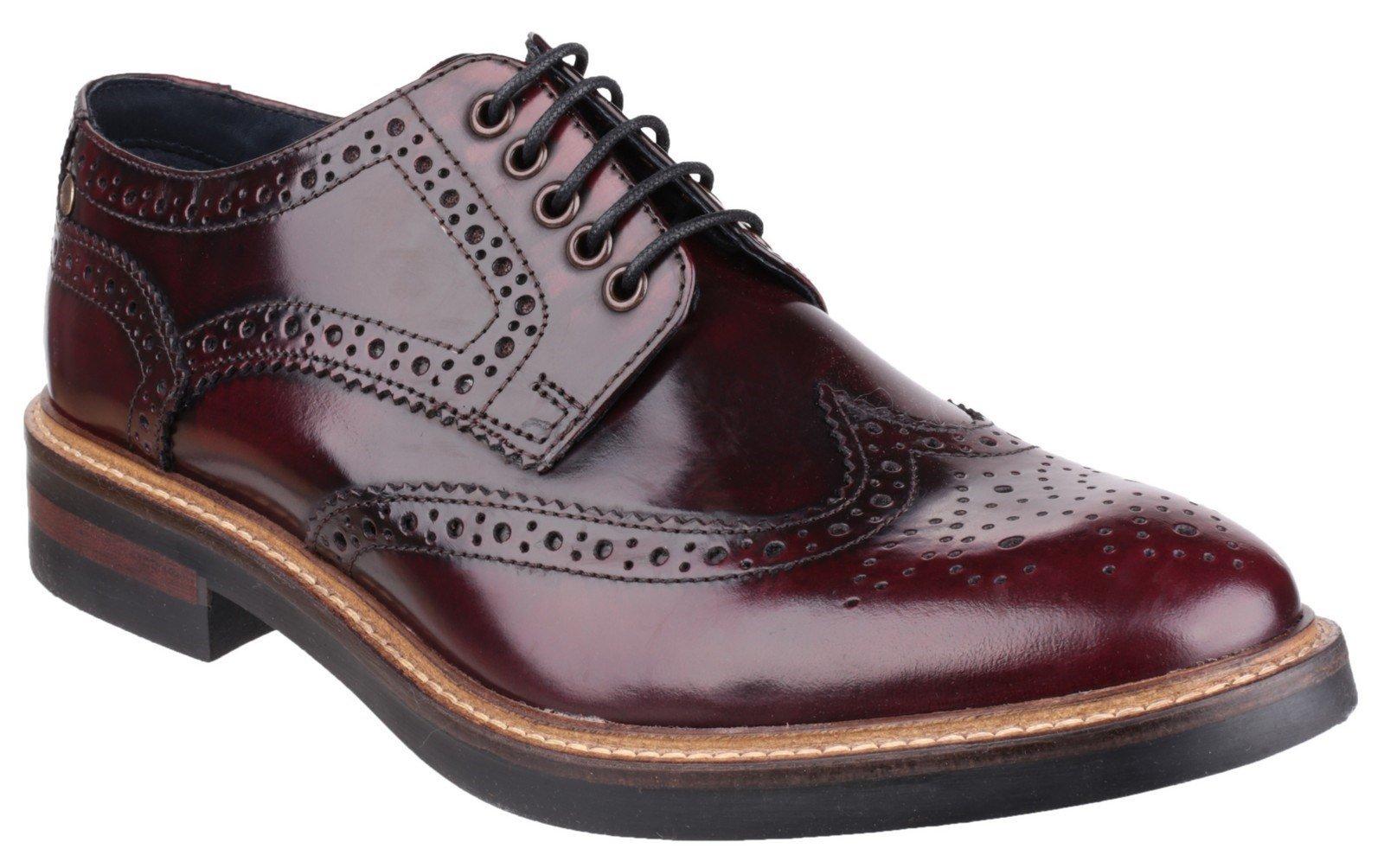 Base London Men's Woburn Hi-Shine Brogue Shoe Bordeaux 22724 - Bordo hi shine 6