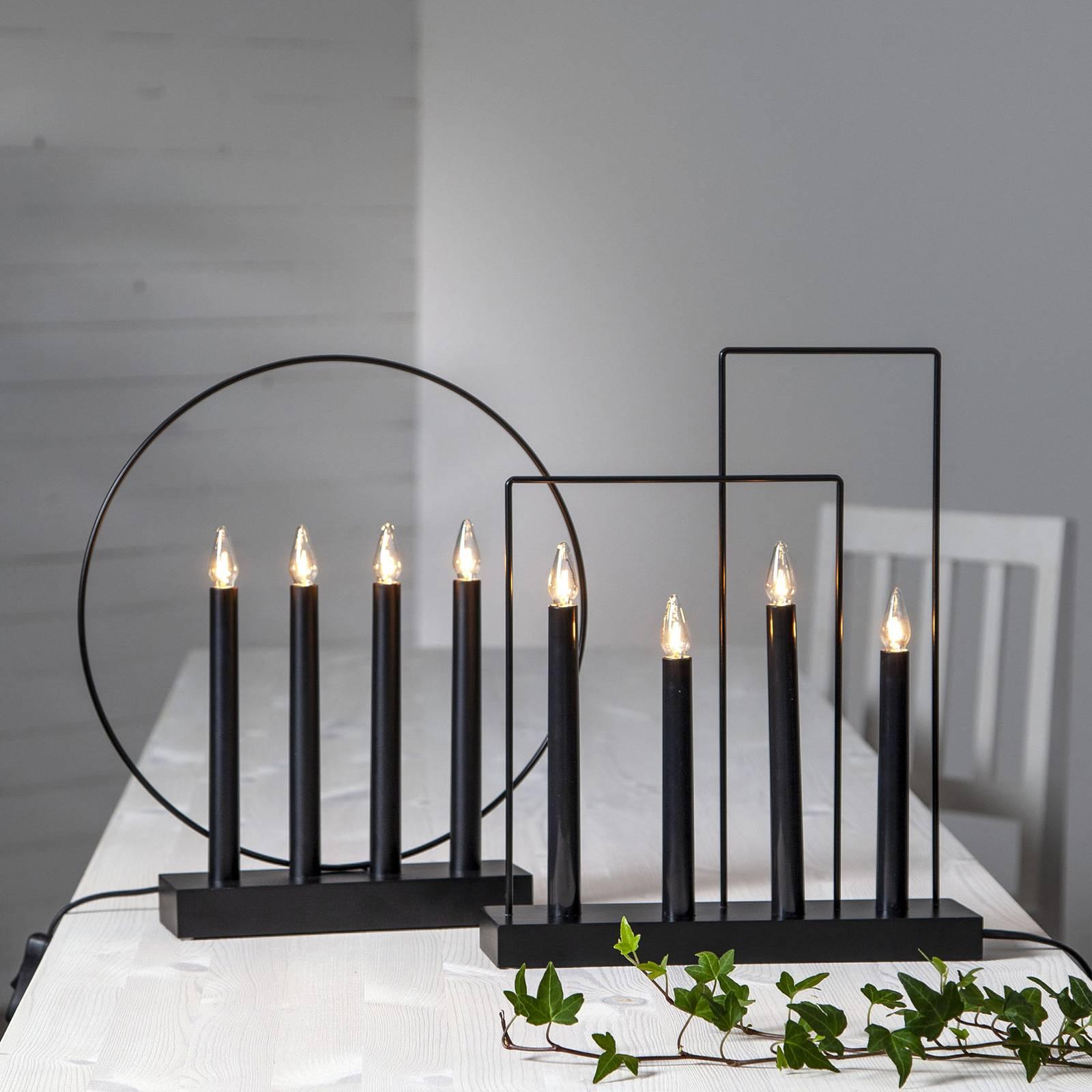 Glossy-kynttelikkö kehyksellä, 4-lamppuinen, musta