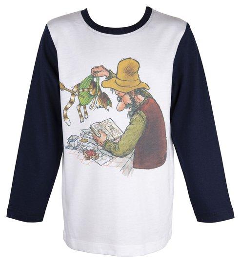 Pettson & Findus Langermet T-Shirt, White, 92