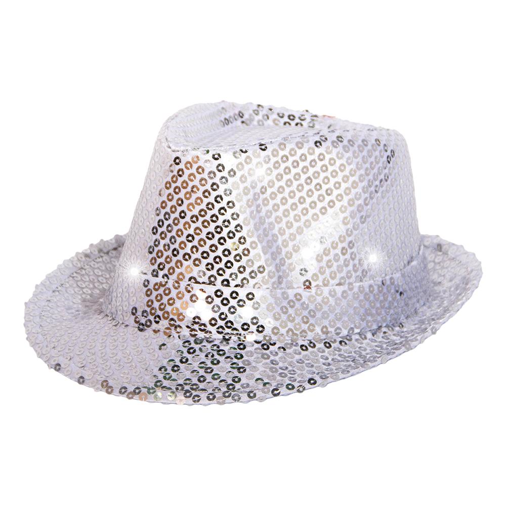 Trilby Paljetthatt Silver LED - One size