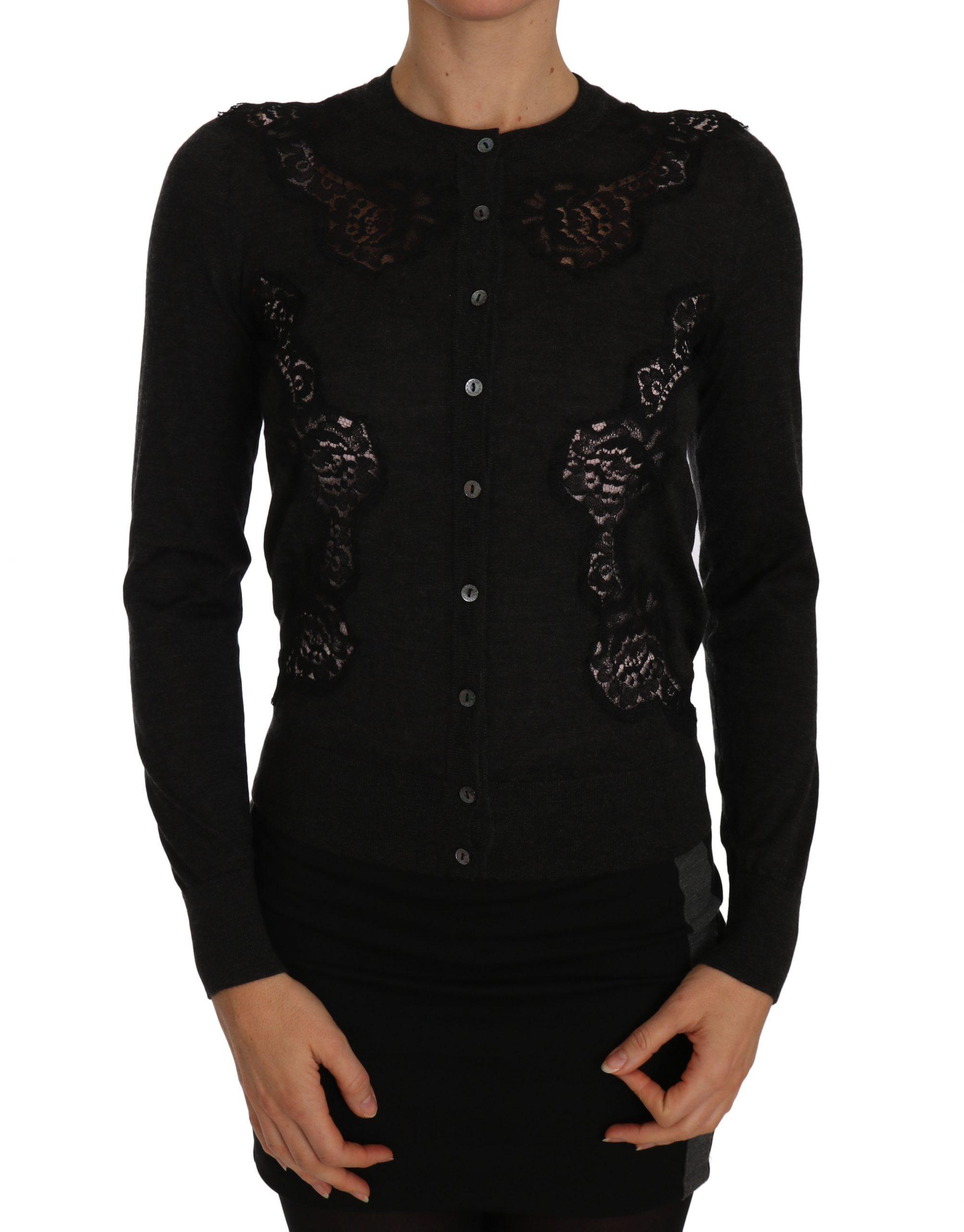 Dolce & Gabbana Women's Cashmere Lace Button Up Cardigan Gray TSH2258 - IT38 XS