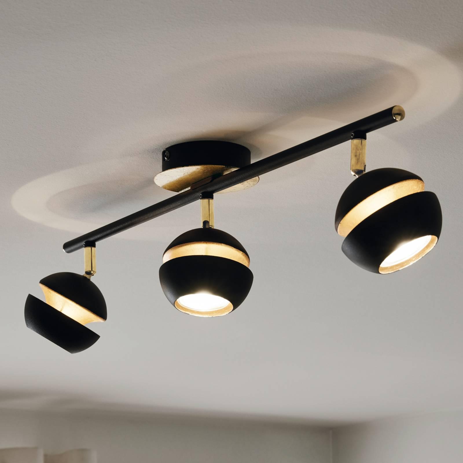 Mustakultainen LED-kattovalaisin Nocito – 3-lampp.