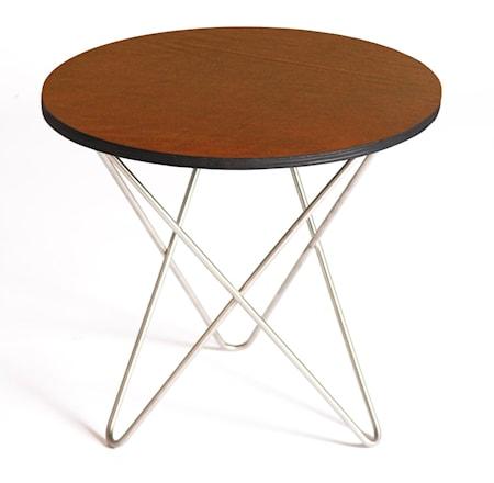 Mini o-table leather sidobord – Nature/brass