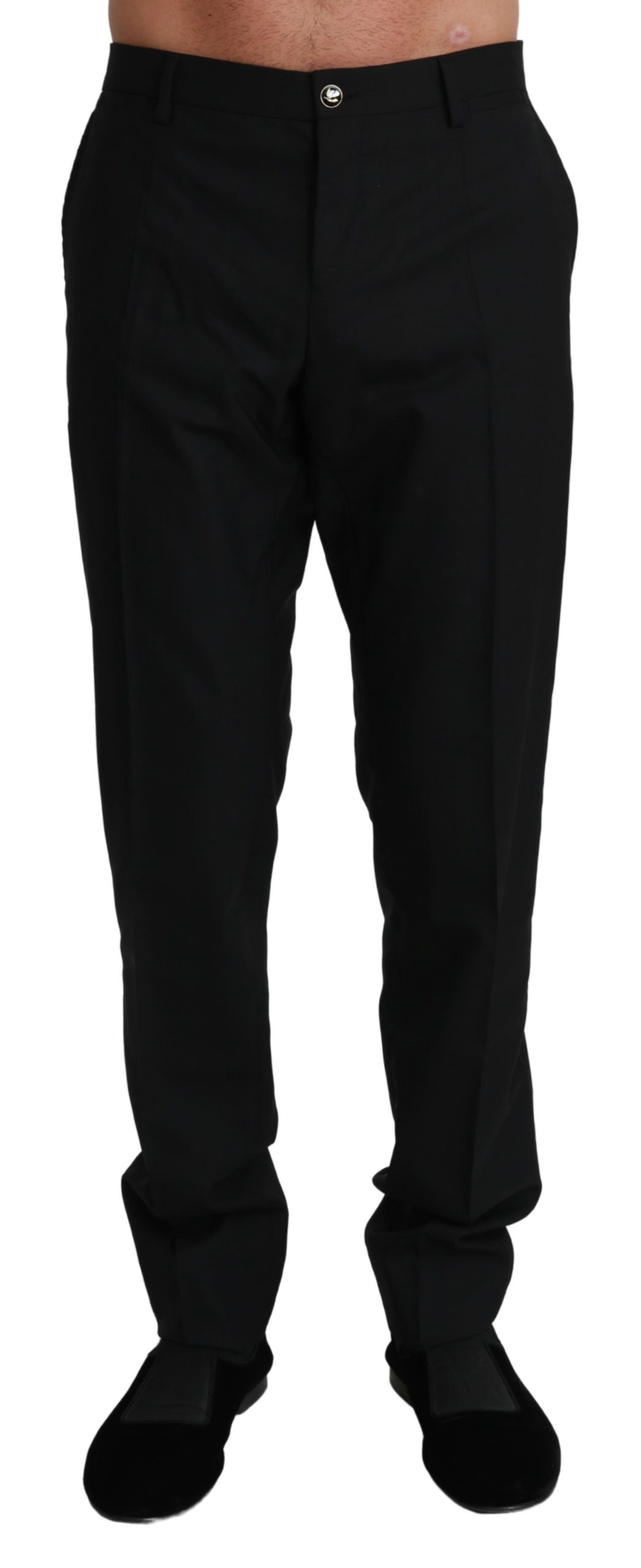 Dolce & Gabbana Men's Formal Dress Virgin Wool Trouser Black PAN71004 - IT50   L