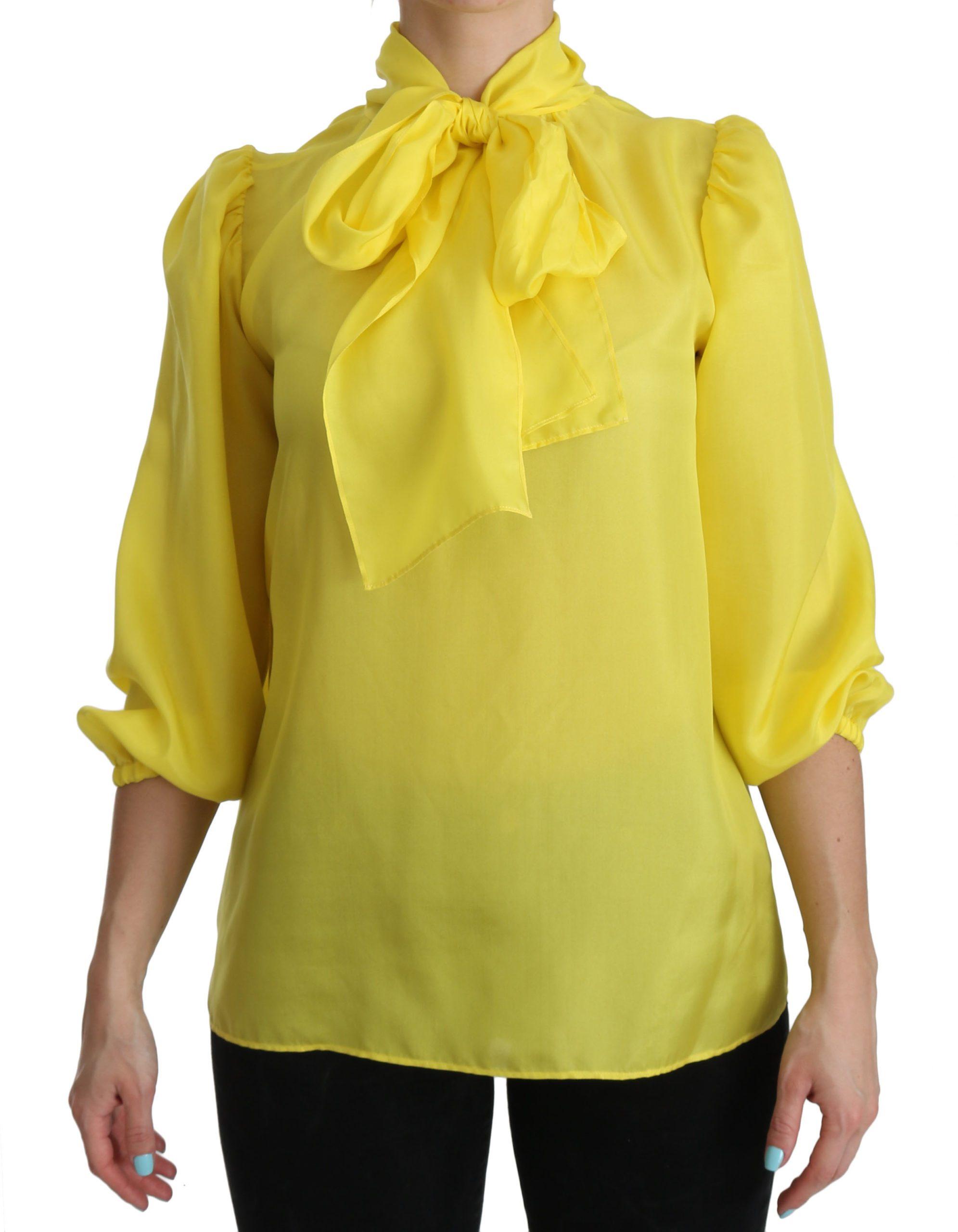 Dolce & Gabbana Women's 3/4 Sleeves Ribbon Top Yellow TSH3877 - IT38 XS