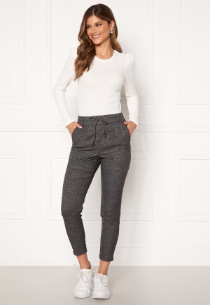 ONLY Poptrash Soft Check Pant Black/Cloud Dancer XS/34