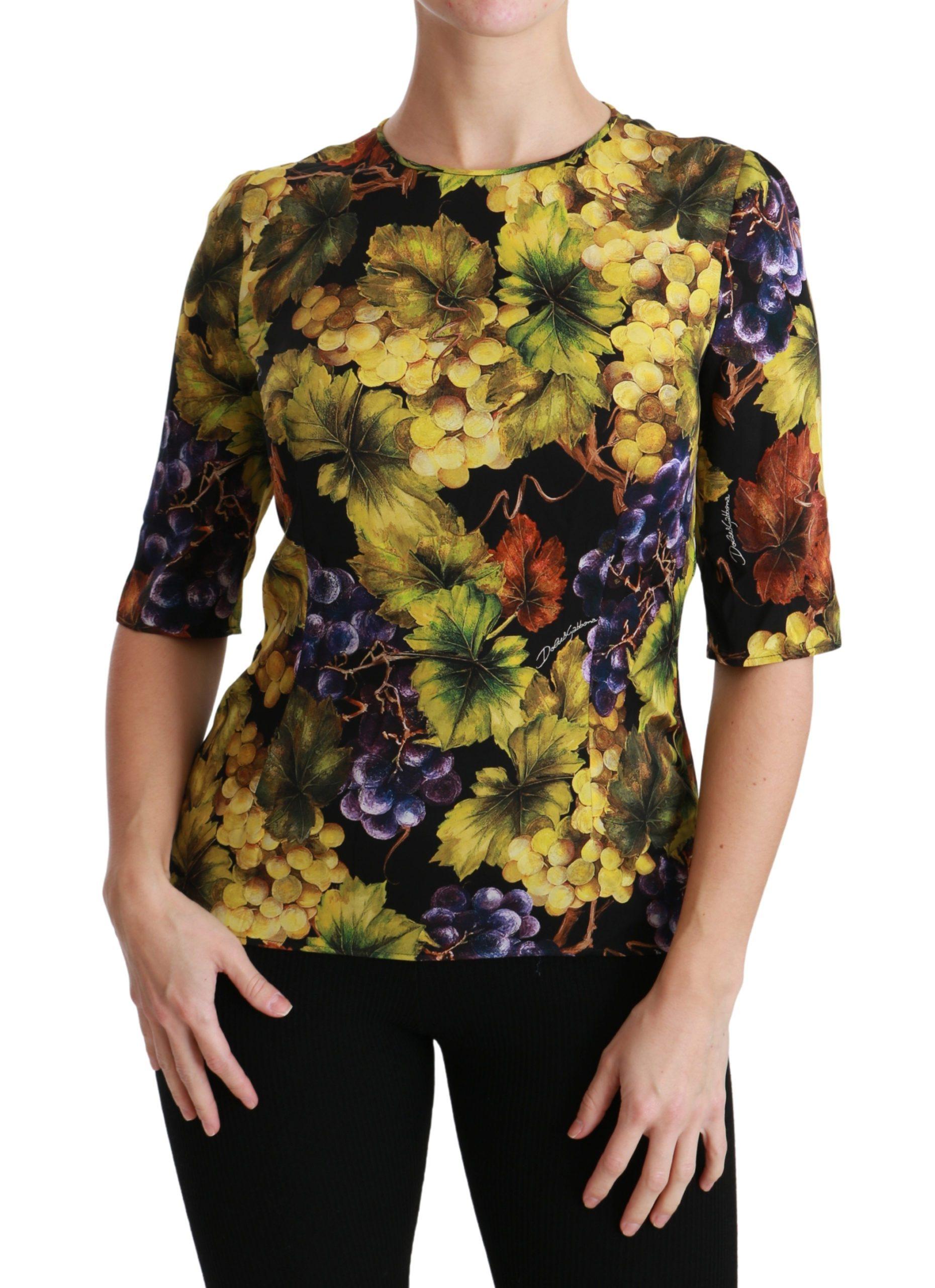 Dolce & Gabbana Women's Grape Floral Stretch Top Black TSH4475 - IT38   S