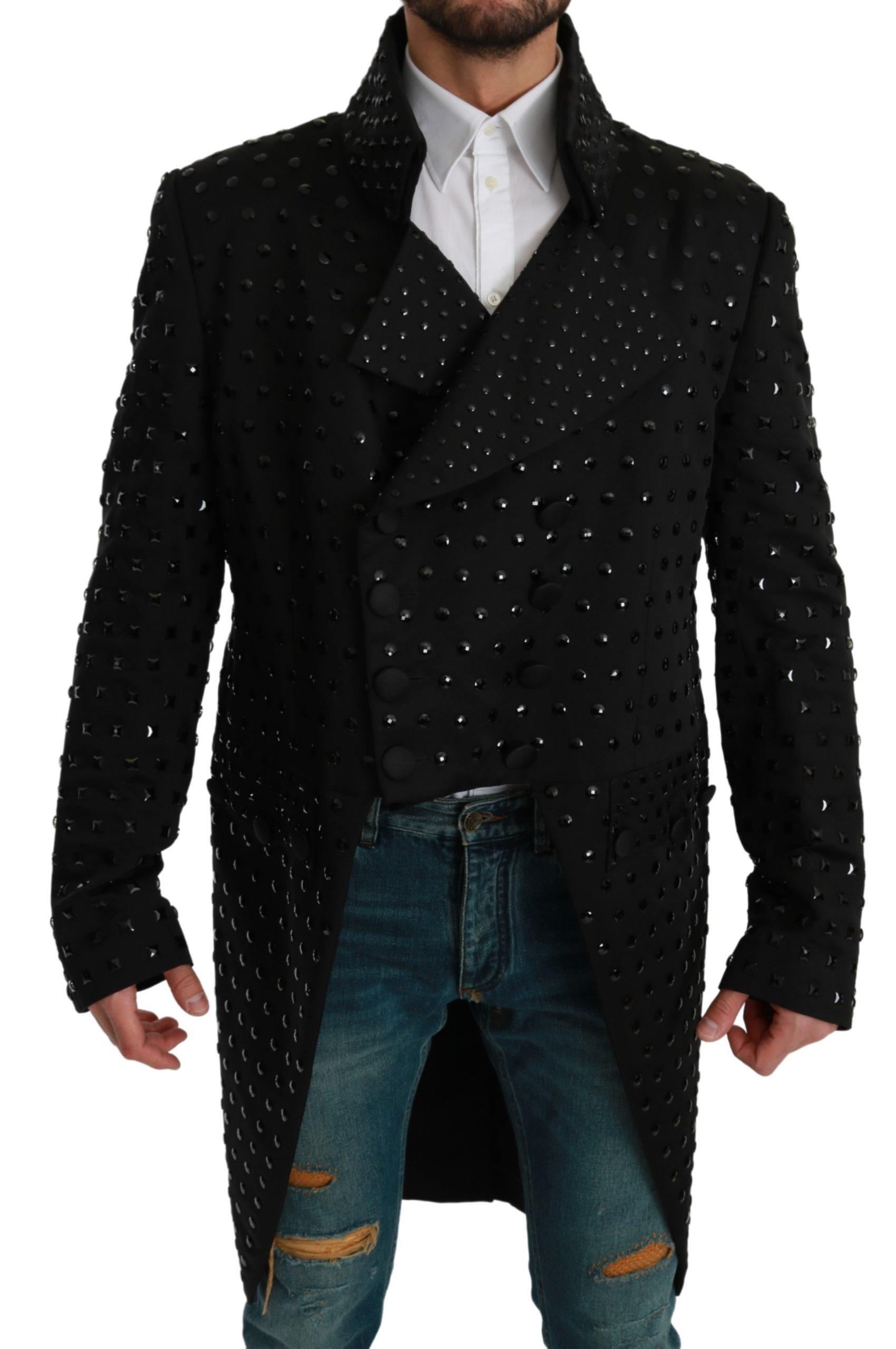 Dolce & Gabbana Men's Silk Crystal Blazer Black JKT2615 - IT58 | XXL