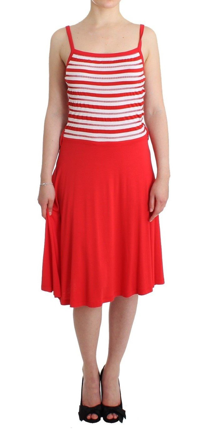 Roccobarocco Women's striped jersey A-line Dress Red SIG11590 - IT44 L